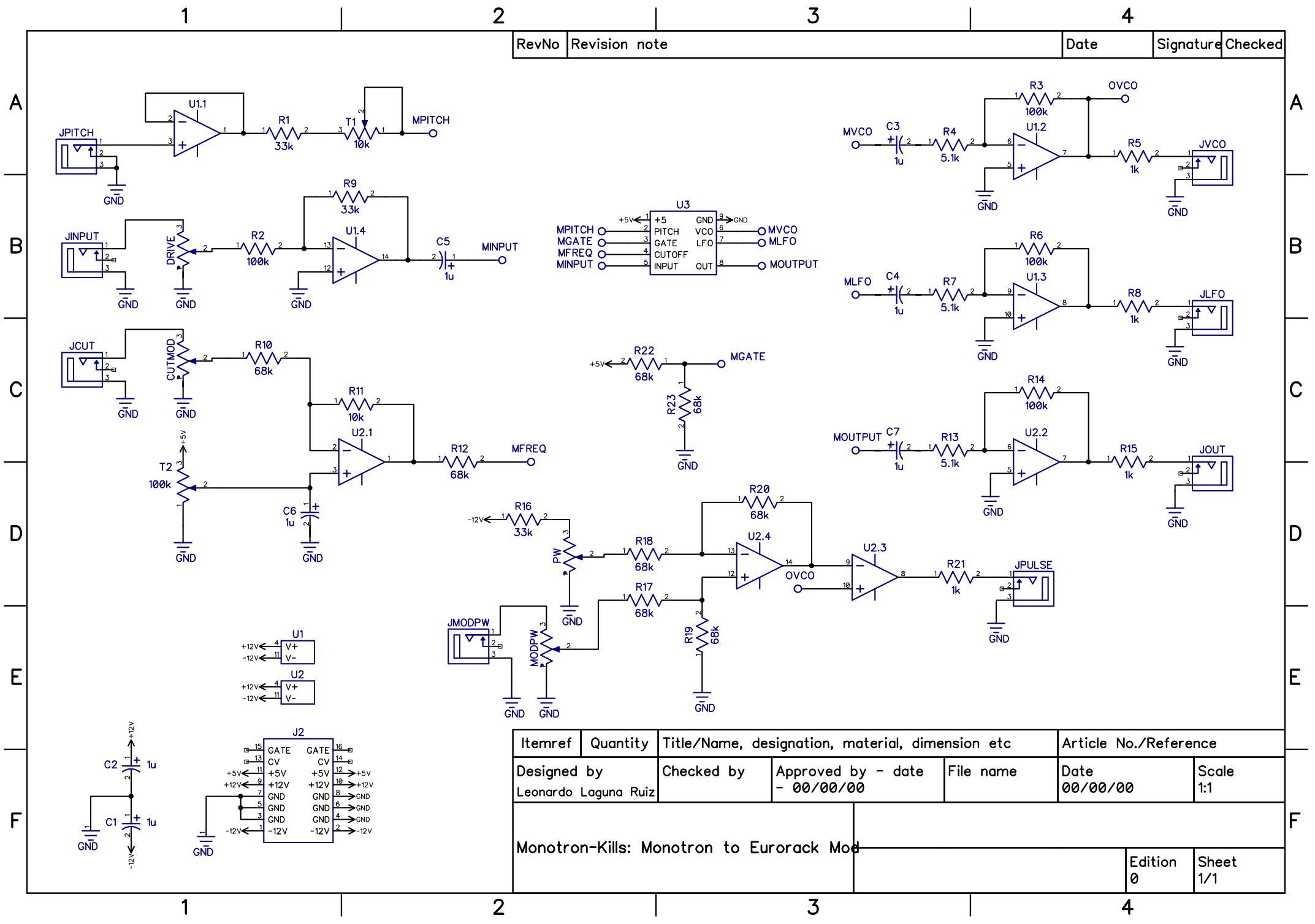 Schematic of the Eurorack adapter